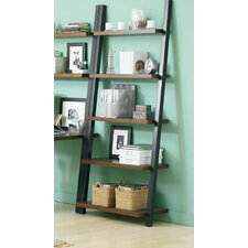 Leaning Bookcase with Java Oak Shelves in Powder Coated Black