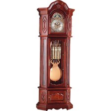 Grandfather Clock with Glass Shelves in Cherry