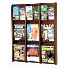 Nine Magazine and Eighteen Brochure Oak and Acrylic Wall Display with Optional Floor Stand