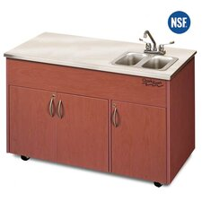 "Silver Advantage 48"" x 24"" Double Bowl Portable Sink with Storage Cabinet"