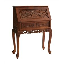 Nelson Hand-Carved Drop-Front Secretary Desk