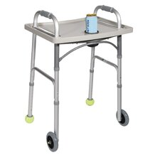 Universal Walker Tray with Cup Holder in Gray