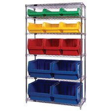 "Q-Stor 6 Shelf Unit with Various Magnum Bins (74"" H x 42"" W x 18"" D) with Optional Mobile Kit"