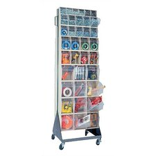 "70"" Mobile Double Sided Floor Stand Storage Unit with Tip Out Bins"