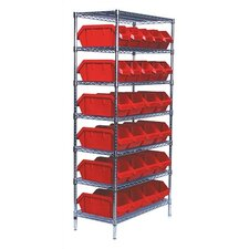 Quick Pick Bin Wire Shelving Units with 28 Large Bins with Optional Mobile Kit