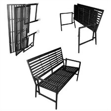 Folding Contemporary Iron Garden Bench