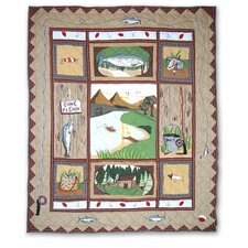 Gone Fishing Cotton Throw Quilt
