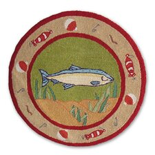 Gone Fishing Round Novelty Rug