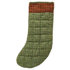 Green and White Plaid Fabric Stocking (Set of 2)