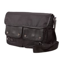 Aelius Leather & Nylon Double Pocket Messenger Bag