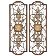 Micayla Panels Wall Art in Antiqued Gold (Set of 2)