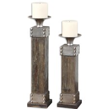 Lican Fir and Metal Candlesticks (Set of 2)