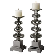 2 Piece Anoka Ceramic Candlestick Set