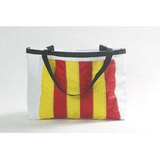 Nautical Flag Tote in White Sailcloth with Signal Flag