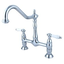 Heritage Deck Mount Double Handle Centerset Bridge Kitchen Faucet with Porcelain Lever Handles