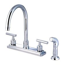 Tampa Two Handle Centerset Kitchen Faucet with Metal Lever Handles and Side Spray