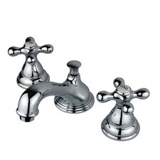 Widespread Bathroom Faucet with Double Metal Cross Handles