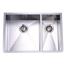 "29"" x 20.06"" Town Square Undermount Offset Double Bowl Kitchen Sink"