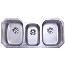 "50.38"" x 20.5"" Rancho Undermount Offset Triple Bowl Kitchen Sink"