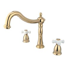 Heritage Double Handle Deck Mount Roman Tub Faucet Trim Porcelain Cross Handle