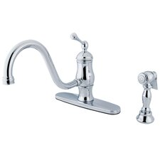 Heritage Singe Handle Centerset Kitchen Faucet with Buckingham Lever Handle