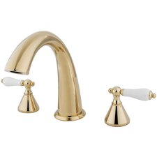 Double Handle Deck Mount Roman Tub Faucet Trim Porcelain Lever Handle