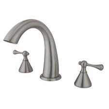 Double Handle Deck Mount Roman Tub Faucet Trim Buckingham Lever Handle