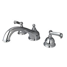 Chicago Double Handle Deck Mount Roman Tub Faucet Trim French Lever Handle