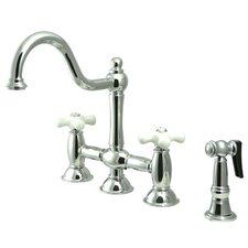 Double Handle Widespread Bridge Faucet with Porcelain Cross Handles