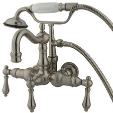 Hot Springs  Three Handle Wall Mount Clawfoot Tub Faucet with Hand Shower