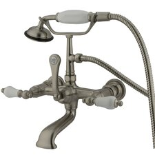 Hot Springs Double Handle Wall Mount Clawfoot Tub Faucet with Handshower