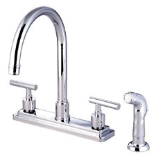 Manhattan Double Handle Single Hole Kitchen Faucet with Non-Metallic Sprayer