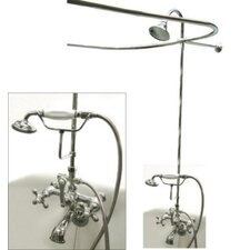 Vintage Volume Control Tub and Shower Faucets with Metal Cross Handles