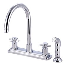 South Beach Double Cross Handle Kitchen Faucet with Non-Metallic Sprayer