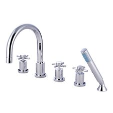 South Beach Triple Handle Roman Tub Filler with Hand Shower