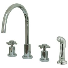 South Beach Double Cross Handle Widespread Kitchen Faucet with Non-Metallic Sprayer