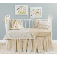 Toile Blue and Brown Toddler Coverlet and Pillow