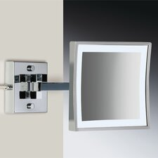 "8"" Wall Mount 3X Magnifying LED Mirror with Two Arm Direct Wired"