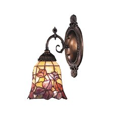Mix-N-Match 1 Light Wall Sconce with Flower Design Glass Shade