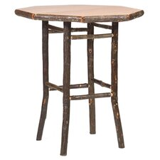 Hickory Pub Table and Upholstered Seat Barstool with Arms
