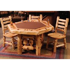 Cedar Log 6 Sided Poker Table with Log Framework Base