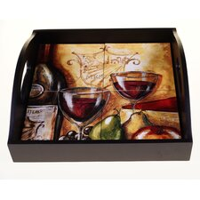 "Wine and Cheese Party 12.75"" 4-Tile Square Wood Tray"