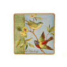 "Botanical Birds 14.25"" Square Platter"