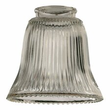 "7"" x 10"" Clear Ribbed Bell Glass Shade for Ceiling Fan Light Kit"