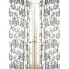 Black Toile Cotton Curtain Panel Pair