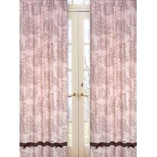 Pink and Brown Toile Cotton Curtain Panel Pair