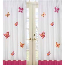Butterfly Cotton Curtain Panel Pair
