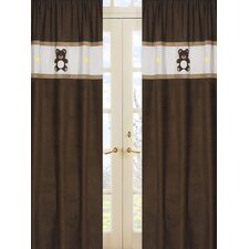 Teddy Bear Pink Cotton Curtain Panel Pair
