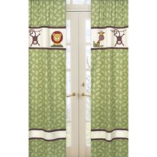 Jungle Time Cotton Curtain Panel Pair