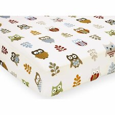 Owl Print Fitted Crib Sheet